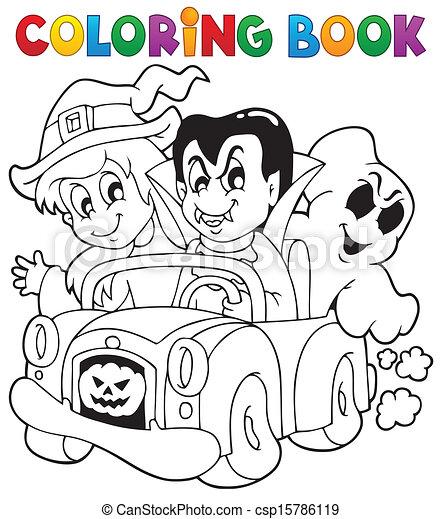 Halloween, färbung, zeichen, buch, 8. Färbung, eps10,... Vektor ...