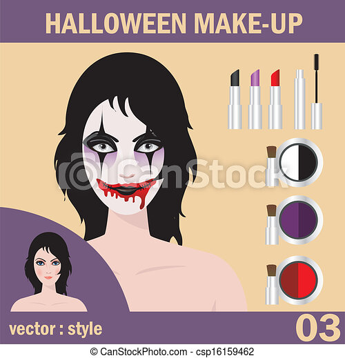 Halloween face art - csp16159462