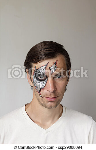 Halloween face painting. Scary man with face painting... stock ...