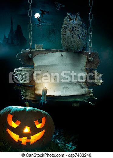 halloween festa, bakgrund, design - csp7483240