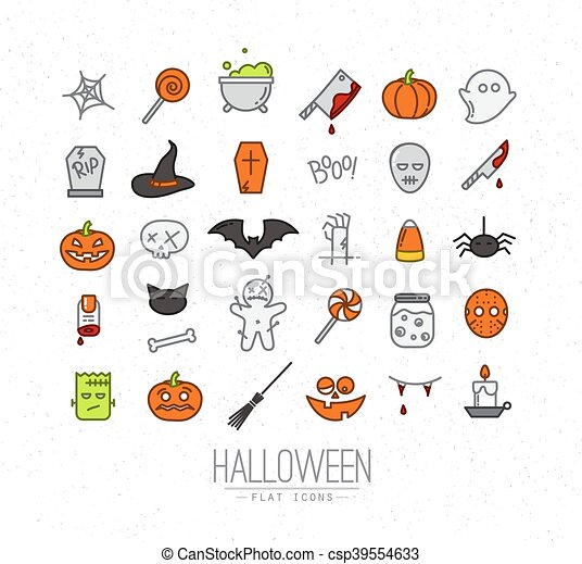 Halloween Flat Icons Color Set Of Halloween Color Icons Drawing
