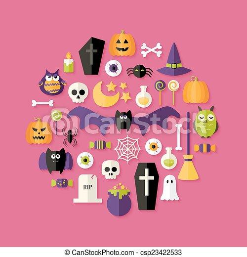 Halloween Flat Icons Set Over Pink - csp23422533