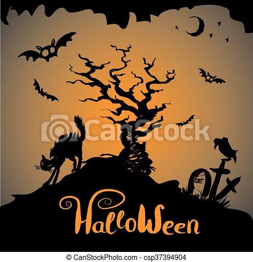 halloween, fond, effrayant - csp37394904