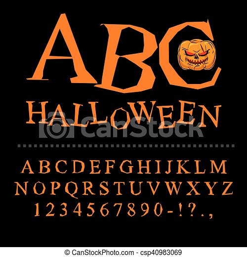 Halloween font  Curves of letters to terrible holiday  Broken alphabet   Uneven ABC