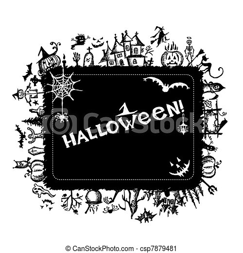 Halloween frame for your design - csp7879481
