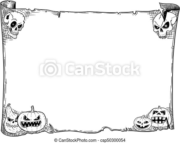 Halloween frame old scroll sheet with skulls and pumpkins. Hand ...