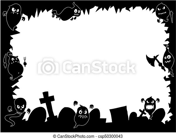 Halloween Frame With Cute Ghost Silhouettes Hand Drawing Cartoon Halloween Frame With Cute Ghost Silhouettes And Graveyard