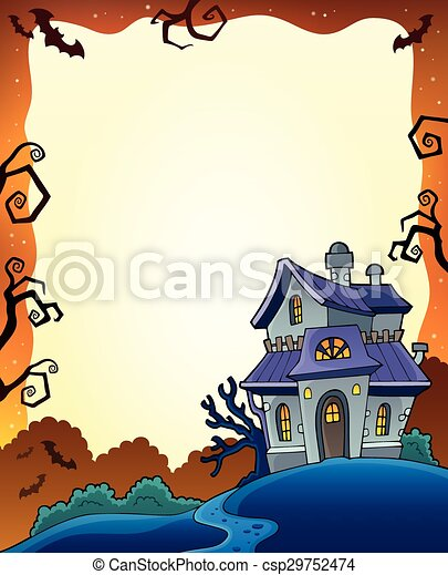 Halloween frame with haunted house 1 - csp29752474
