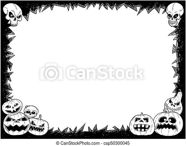 Halloween frame with skulls and pumpkins. Hand drawing cartoon ...
