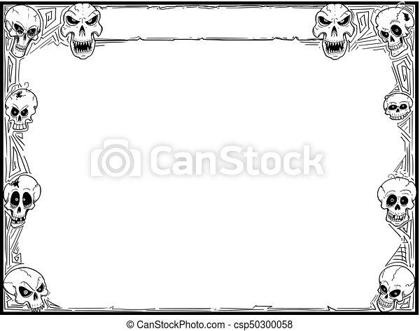 Halloween frame with skulls. Hand drawing cartoon halloween frame ...