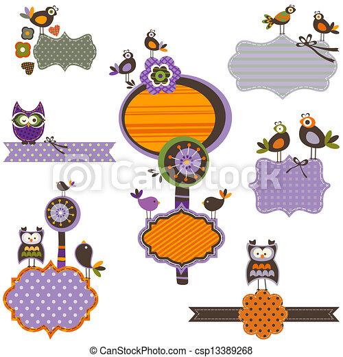 Halloween frames set with birds clip art vector - Search Drawings ...