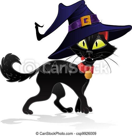Un gato negro y terrible brujo Halloween - csp9926009
