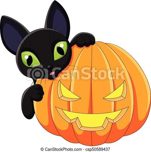 Zucca Halloween Gatto.Halloween Gatto Nero Presa A Terra Cartone Animato Zucca