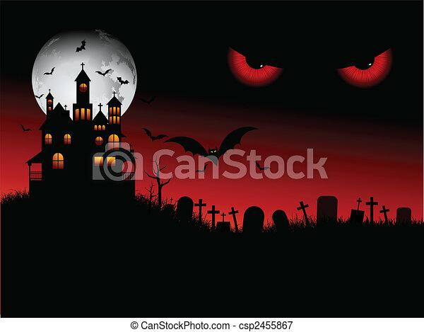 halloween, gespenstisch, szene - csp2455867