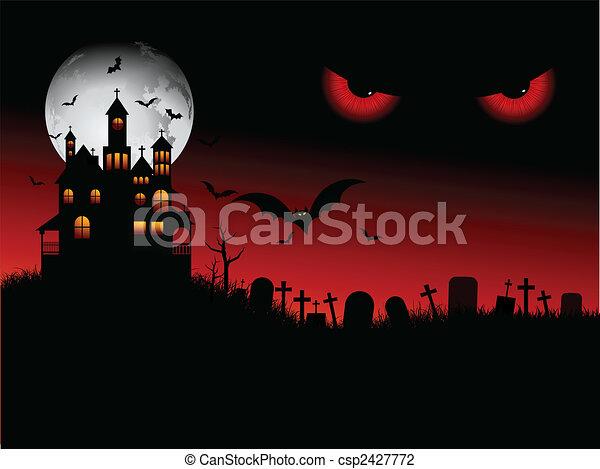 halloween, gespenstisch, szene - csp2427772