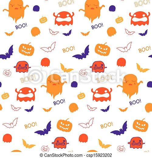 Halloween Ghost Bat Pumpkin Seamless Pattern Background Vector - csp15923202