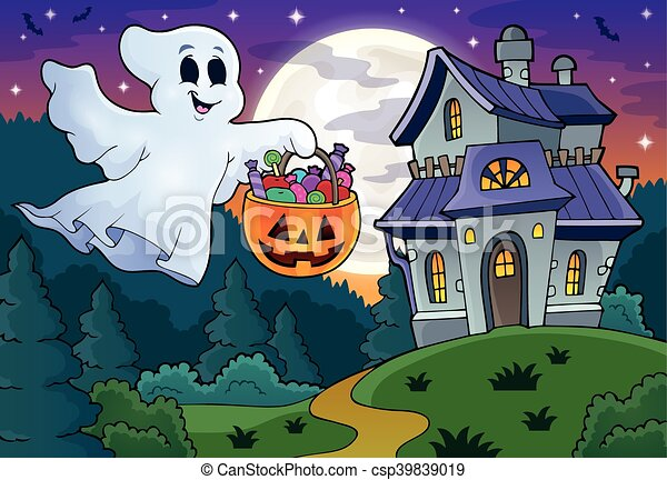 Halloween ghost near haunted house - csp39839019