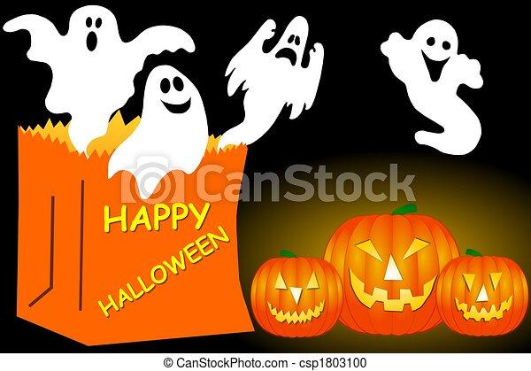 Halloween Ghosts - csp1803100