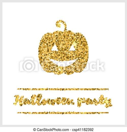 Halloween gold textured pumpkin icon - csp41182392