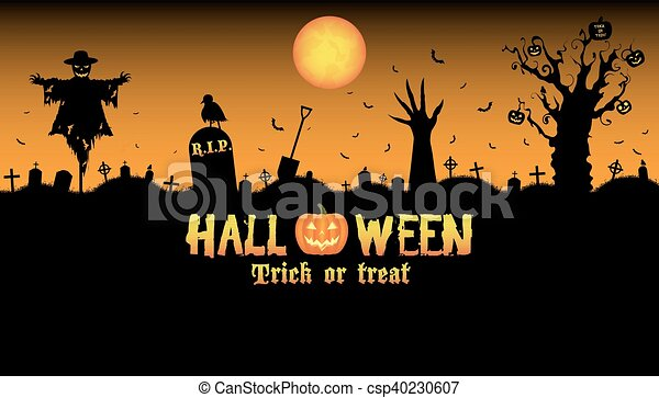 Halloween graveyard background vector vector clipart - Search ...