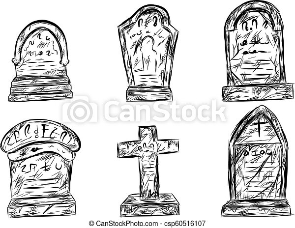 Halloween graveyard sketch by hand drawing. - csp60516107