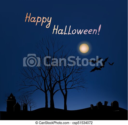 Halloween greeting card background. Holiday landscape with grave