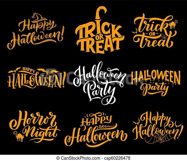 Halloween Greeting Vector Lettering Happy Halloween Lettering Calligraphy For Greeting Cards Design Vector Halloween Trick