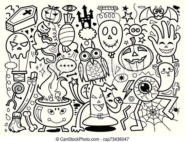 Halloween Hand Drawn Doodle Vector Halloween Drawings Vector Of Design Elements Characters And Attributes Doodle Set