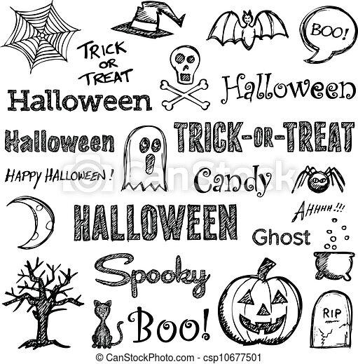 Halloween hand-drawn elements - csp10677501