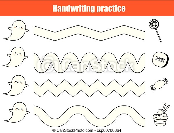 Halloween handwriting practice sheet. Educational children game, printable  worksheet for kids.
