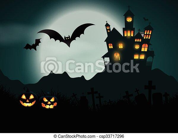 halloween haunted house background 1609 - csp33717296