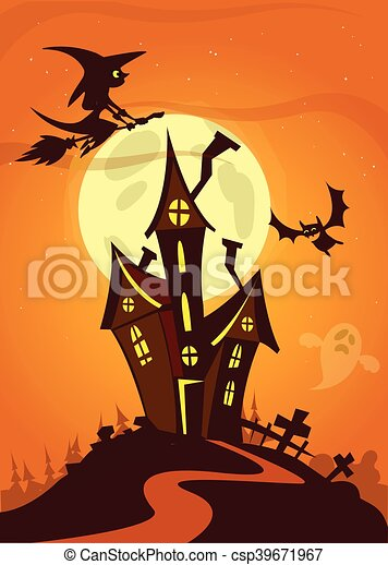 Halloween Haunted House Cartoon Scary Halloween House On Night