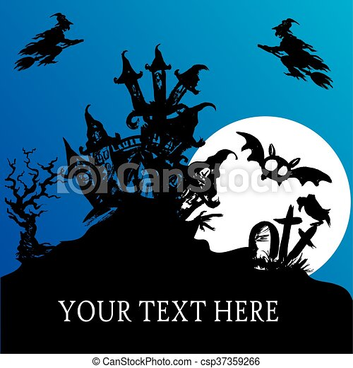 Halloween haunted house - csp37359266