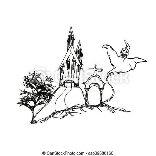 Halloween Haunted House - csp39580160