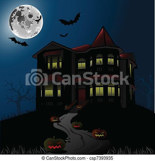 Halloween Haunted House - csp7393935