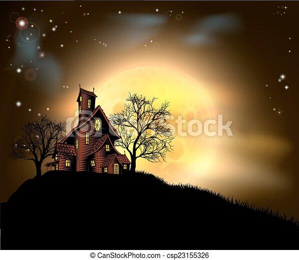 Halloween haunted house  - csp23155326