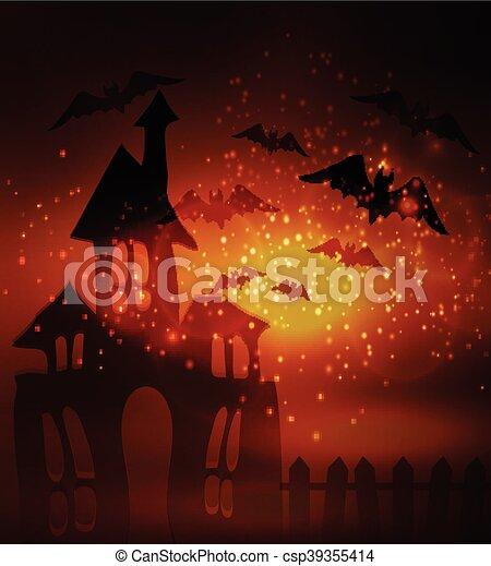Halloween haunted house - csp39355414