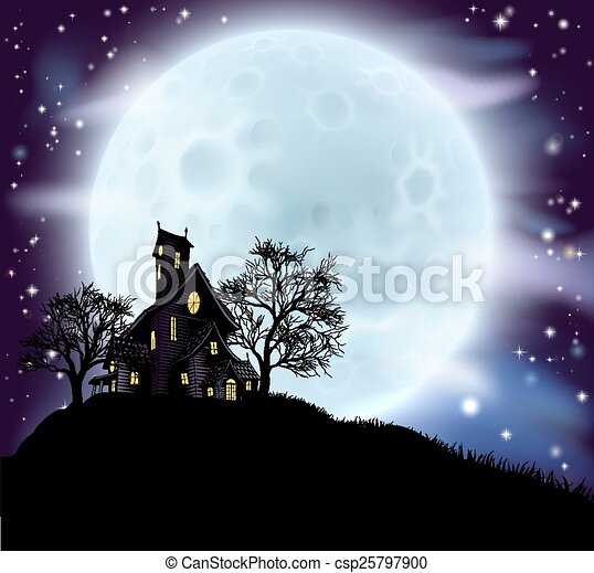 Halloween haunted house - csp25797900