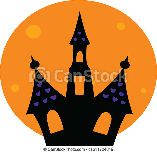 halloween haunted house with moon behind haunted house vector rh canstockphoto com haunted house victoria bc haunted house vector png