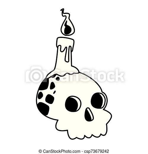 halloween head skull with candle - csp73679242