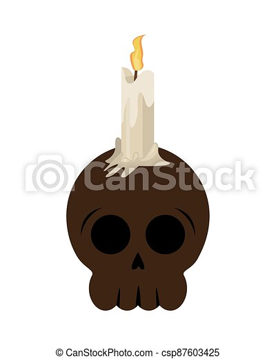 halloween head skull with candle - csp87603425