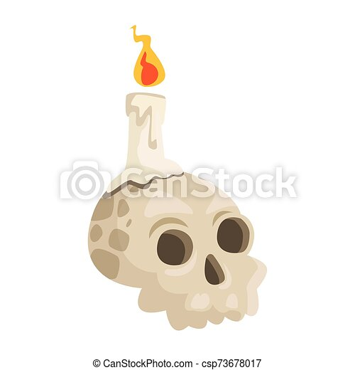 halloween head skull with candle - csp73678017