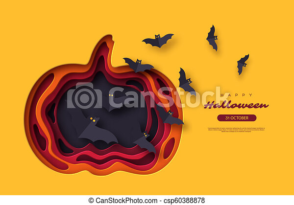 Halloween holiday background. Paper cut style with flying bats. 3d layered effect, vector illustration. - csp60388878
