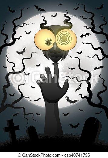 Halloween holiday crazy owl - csp40741735