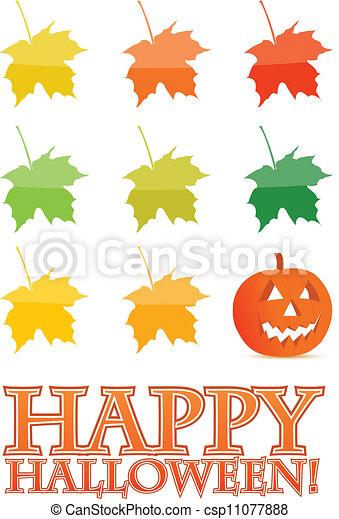 halloween holiday pumpkin card illustration - csp11077888