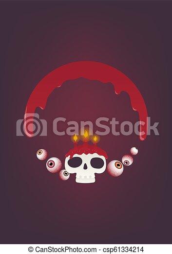 Halloween horror circle frame - csp61334214