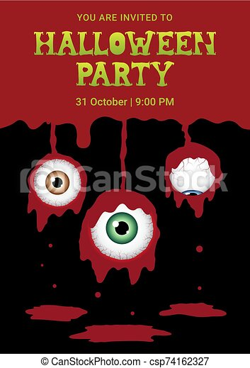 Halloween horror eyeball blood background - csp74162327