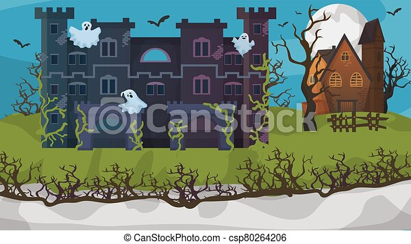 Halloween horror house ghost gloomy cottage flat vector illustration. Nightmare area concept banner, scary mansion. Building overgrown grass. - csp80264206