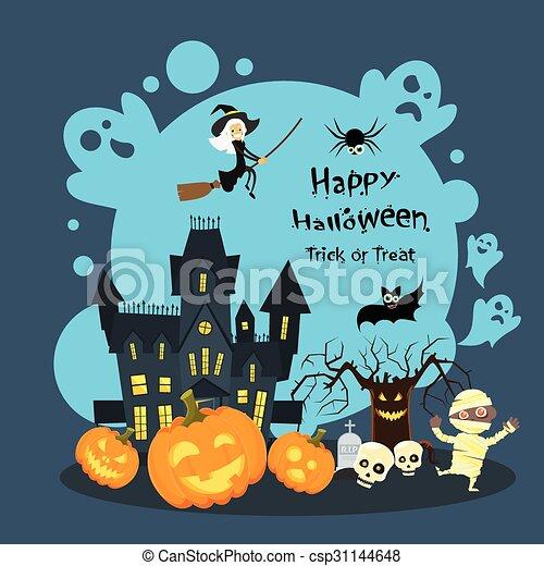 Halloween house ghost pumpkin face party invitation card flat halloween house ghost pumpkin face party invitation card csp31144648 stopboris Choice Image