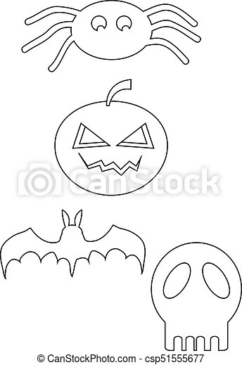 Halloween icon line drawing - csp51555677